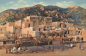 view Taos Indian Pueblo, New Mexico [postcard] digital asset: Taos Indian Pueblo, New Mexico [postcard].