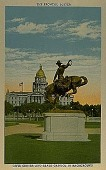 view The Bronco Buster [Civic Center and Colorado State Capitol in background] [picture postcard] digital asset: The Bronco Buster [Civic Center and Colorado State Capitol in background] [picture postcard].