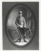 view [Copy of a framed photograph of a young uniformed Western Union messenger with bicycle : black-and-white photoprint.] digital asset: [Copy of a framed photograph of a young uniformed Western Union messenger with bicycle : black-and-white photoprint.]