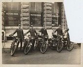 view Use of Harley Davidson Motorcycles by Western Union messengers. Left to Right -- Jack Creech, William Tye, Charles Exley, Mallory Dutton, and John Zeigler [Black-and-white photoprint.] digital asset: Use of Harley Davidson Motorcycles by Western Union messengers. Left to Right -- Jack Creech, William Tye, Charles Exley, Mallory Dutton, and John Zeigler. [Black-and-white photoprint.]