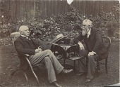 view [Charles Trippe (left) sitting with Samuel Morse (right) in garden, b&w photoprint] digital asset: [Charles Trippe (left) sitting with Samuel Morse (right) in garden, b&w photoprint]