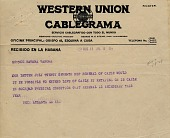 view Western Union Cablegrama [received in Havana, Cuba from Atlanta, Georgia, about condition of the cable. [Cablegram] digital asset: Western Union Cablegrama [received in Havana, Cuba from Atlanta, Georgia, about condition of the cable. [Cablegram]