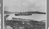 view The Great Eastern in Hearts Content [Newfoundland] Harbor in 1866. [Black-and-white photoprint.] digital asset: The Great Eastern in Hearts Content [Newfoundland] Harbor in 1866. [Black-and-white photoprint.]
