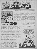 view Sales Sparks Newsletter, July 1938. [Newsletter: front page] digital asset: Sales Sparks Newsletter, July 1938. [Newsletter: front page]