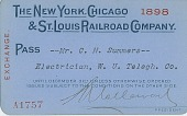 view New York, Chicago, & St. Louis Railroad Company pass, [card] digital asset: New York, Chicago, & St. Louis Railroad Company pass, [card]