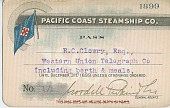 view [Pacific Coast Steamship Company pass for R.C. Clowry, card] digital asset: [Pacific Coast Steamship Company pass for R.C. Clowry, card]