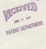 """view [Stamp """"Received"""" from Patent Department, 1957, for the patent Electrically Inscribable Lithographic Offset Printing Plate.] digital asset: [Stamp """"Received"""" from Patent Department, 1957, for the patent Electrically Inscribable Lithographic Offset Printing Plate.]"""