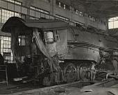 view Norfolk & Western Railroad locomotive with crown sheet failure, [photoprint] digital asset: Norfolk & Western Railroad locomotive with crown sheet failure, [photoprint]
