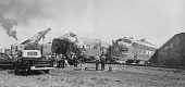 view Atchison, Topeka, and Santa Fe Railroad wreckage of Number 19 (Chief), [photoprint] digital asset: Atchison, Topeka, and Santa Fe Railroad wreckage of Number 19 (Chief), [photoprint]