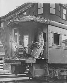 view Collision between CNSM locomotive and CTA train at Wilson Ave. Station, Chicago, Illinois, [photoprint] digital asset: Collision between CNSM locomotive and CTA train at Wilson Ave. Station, Chicago, Illinois, [photoprint]
