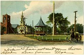 view Bandstand in The Common, Attleboro, Mass. [postcard] digital asset: Bandstand in The Common, Attleboro, Mass. [postcard],