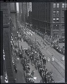 view [Aerial view of parade, photonegative.] digital asset: [Aerial view of parade, photonegative.]