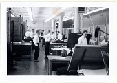 view [Office employees at United Shoe Company, photoprint] digital asset: [Office employees at United Shoe Company, photoprint].