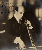 view Pablo Casals playing cello [photoprint] digital asset: Pablo Casals playing cello [photoprint].