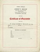 view Certificate of Guarantee [blank certificate from Albert F. Moglie, Luthier] digital asset: Certificate of Guarantee [blank certificate from Albert F. Moglie, Luthier]