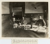 view Thomas Alva Edison Photoprints digital asset: Arthur Williams, Thomas A. Edison, John W. Lieb, Nicholas F. Brady and Thomas E. Murray in office of Mr. Murray [photoprint]