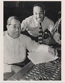 view [Duke Ellington and his son, Mercer Ellington : black-and-white photoprint] digital asset: [Duke Ellington and his son, Mercer Ellington : black-and-white photoprint, ca. 1950s.]