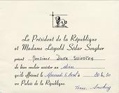 view [Invitation to Duke Ellington from Senagalese President Senghor for dinner on April 6, 1966.] digital asset: [Invitation to Duke Ellington from Senagalese President Senghor for dinner on April 6, 1966.]