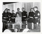 view [Duke Ellington with 7 U.S. Marines standing behind an unknown woman seated at a drum set in Baghdad, Iraq during 1963 State Department Tour : black-and-white photoprint] digital asset: [Duke Ellington with 7 U.S. Marines standing behind an unknown woman seated at a drum set in Baghdad, Iraq during 1963 State Department Tour : black-and-white photoprint].