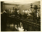 view Winston Churchill at demonstration of the magnetically levitated railway at Bachelet Works [black and white photoprint,] digital asset: Winston Churchill at demonstration of the magnetically levitated railway at Bachelet Works [black and white photoprint,] 1914.
