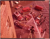 view Fire engines [chromogenic color transparency] digital asset: Fire engines [chromogenic color transparency], 1958.