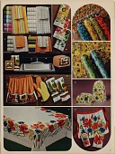 view [Catalog page showing linens and kitchen accessories, composite from several photographs : color advertisement] digital asset: [Catalog page showing linens and kitchen accessories, composite from several photographs : color advertisement].