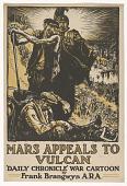 view Mars Appeals to Vulcan Daily Chronicle' War Cartoon by Frank Brangwyn A.R.A digital asset: Mars Appeals to Vulcan Daily Chronicle' War Cartoon by Frank Brangwyn A.R.A