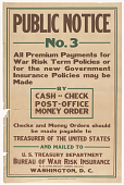 view Public Notice No.3 All Premium Payments for War Risk Term Policies or for the New Government Insurance Policies ... digital asset: Public Notice No.3 All Premium Payments for War Risk Term Policies or for the New Government Insurance Policies ...