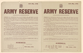 view Army Reserve ... Required to Report Themselves on Such Date and at Such Place as May Hereafter Be Directed ... A: Schedule Forty-Second Group, Forty-Third Group ... B: Schedule All Men of the 24th Group as and When They Attain 19 Years of Age ... digital asset: Army Reserve ... Required to Report Themselves on Such Date and at Such Place as May Hereafter Be Directed ... A: Schedule Forty-Second Group, Forty-Third Group ... B: Schedule All Men of the 24th Group as and When They Attain 19 Years of Age ...