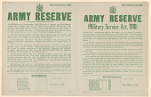 view Army Reserve ... A: ... Required to Report Themselves on Such Date and at Such Place as May Hereafter Be Directed ... Schedule / Fourteen Group, ... B: Army Reserve (Military Service Act, 1916) ... Schedule / Thirteenth Class (Men Born in 1885) ... digital asset: Army Reserve proclamation / 16 February 1916
