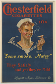 """view Chesterfield Cigarettes / 10 Cents / """"Same Smoke, Matey"""" / They Satisfy and Yet They're Mild. Liggett & Myers Tobacco Company : digital asset: Chesterfield Cigarettes / 10 Cents / """"Same Smoke, Matey"""" / They Satisfy and Yet They're Mild. Liggett & Myers Tobacco Company :"""