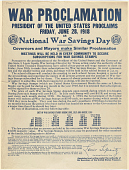 view War Proclamation President of the United States Proclaims Friday, June 28, 1918 as National War Savings Day ... digital asset: War Proclamation President of the United States Proclaims Friday, June 28, 1918 as National War Savings Day ...