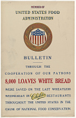 view Member of United States Food Administration Bulletin ... 8,000 Loaves of White Bread Were Saved on the Last Wheatless Wednesday in Childs Restaurants ... digital asset: Member of United States Food Administration Bulletin ... 8,000 Loaves of White Bread Were Saved on the Last Wheatless Wednesday in Childs Restaurants ...