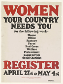 view Women Your Country Needs You for the Following Work - Home Office Factory Farm ...(April 27 - May 4, 1917). Woman's Committee of the Council of National Defense. digital asset: Women Your Country Needs You for the Following Work - Home Office Factory Farm ...(April 27 - May 4, 1917). Woman's Committee of the Council of National Defense