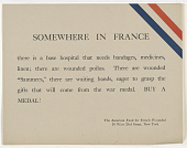 view Somewhere in France There is a Base Hospital That Needs Bandages, Medicines, Linen ... digital asset: Somewhere in France There is a Base Hospital That Needs Bandages, Medicines, Linen ...