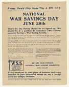 view Rotary Should Help Make This a Big Day National War Savings Day June 28th digital asset: Rotary Should Help Make This a Big Day National War Savings Day June 28th