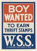 view Boy Wanted to Earn Thrift Stamps W.S.S  Poster Subject to Recall. digital asset: Boy Wanted to Earn Thrift Stamps W.S.S  Poster Subject to Recall