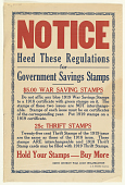 view Notice Heed These Regulations for Government Savings Stamps ... digital asset: Notice Heed These Regulations for Government Savings Stamps ...