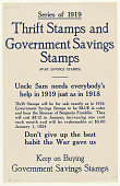 view Series of 1919 Thrift Stamps and Government Savings Stamps (War Savings Stamps) Uncle Sam Needs Everybody's Help in 1919 Just as in 1918 ... digital asset: Series of 1919 Thrift Stamps and Government Savings Stamps (War Savings Stamps) Uncle Sam Needs Everybody's Help in 1919 Just as in 1918 ...