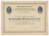 view United States of America Western Pennsylvania War Savings Headquarters This Certifies That Has Assumed the Obligations of Membership ... digital asset: United States of America Western Pennsylvania War Savings Headquarters This Certifies That Has Assumed the Obligations of Membership ...