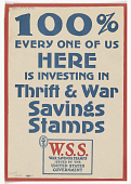view 100% Every One of Us Here is Investing in Thrift & War Savings Stamps... digital asset: 100% Every One of Us Here is Investing in Thrift & War Savings Stamps...