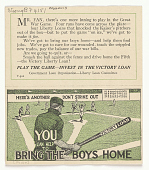 view Mr. Fan, There's One More Inning to Play in the Great War Game ... / You Can Help to Bring the Boys Home [Reverse Side Has the 1919 Baseball Game Schedule for the National League & the American League] digital asset: Mr. Fan, There's One More Inning to Play in the Great War Game ... / You Can Help to Bring the Boys Home [Reverse Side Has the 1919 Baseball Game Schedule for the National League & the American League]