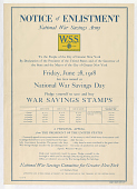 view Notice of Enlistment National War Savings Army ... Friday, June 28, 1918 Has Been Named as National War Savings Day digital asset: Notice of Enlistment National War Savings Army ... Friday, June 28, 1918 Has Been Named as National War Savings Day