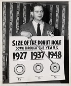 view Size of the donut hole / down through the years [black-and-white photoprint] digital asset: Size of the donut hole / down through the years [black-and-white photoprint].