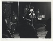 view Ella Fitzgerald -- Downbeat Club -- NYC 1949 [black-and-white photoprint] digital asset: Ella Fitzgerald -- Downbeat Club -- NYC 1949 [black-and-white photoprint].