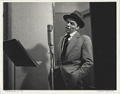 view Frank Sinatra -- NYC [in a New York City recording studio] [black-and-white photoprint,] digital asset: Frank Sinatra -- NYC [in a New York City recording studio] [black-and-white photoprint,] 1956.