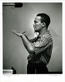view Quincy Jones -- NYC [photoprint, black-and-white,] digital asset: Jones, Quincy; Recording Studio, New York City,1955