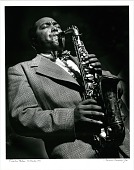view Charlie Parker -- Birdland [New York City] [Photoprint, black and white,] digital asset: Charlie Parker -- Birdland [New York City] [Photoprint, black and white,] 1949.