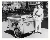view [Good Humor vendor with pushcart : photoprint,] digital asset: [Good Humor vendor with pushcart : photoprint,] 1961.