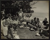 view [Brownie Wise demonstrating Tupperware in Hawaii : black-and-white photoprint] digital asset: [Brownie Wise demonstrating Tupperware in Hawaii : black-and-white photoprint, ca. 1950-1960.]